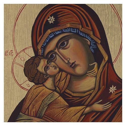 Icona bizantina Madonna di Vladimir 14x10 cm 2