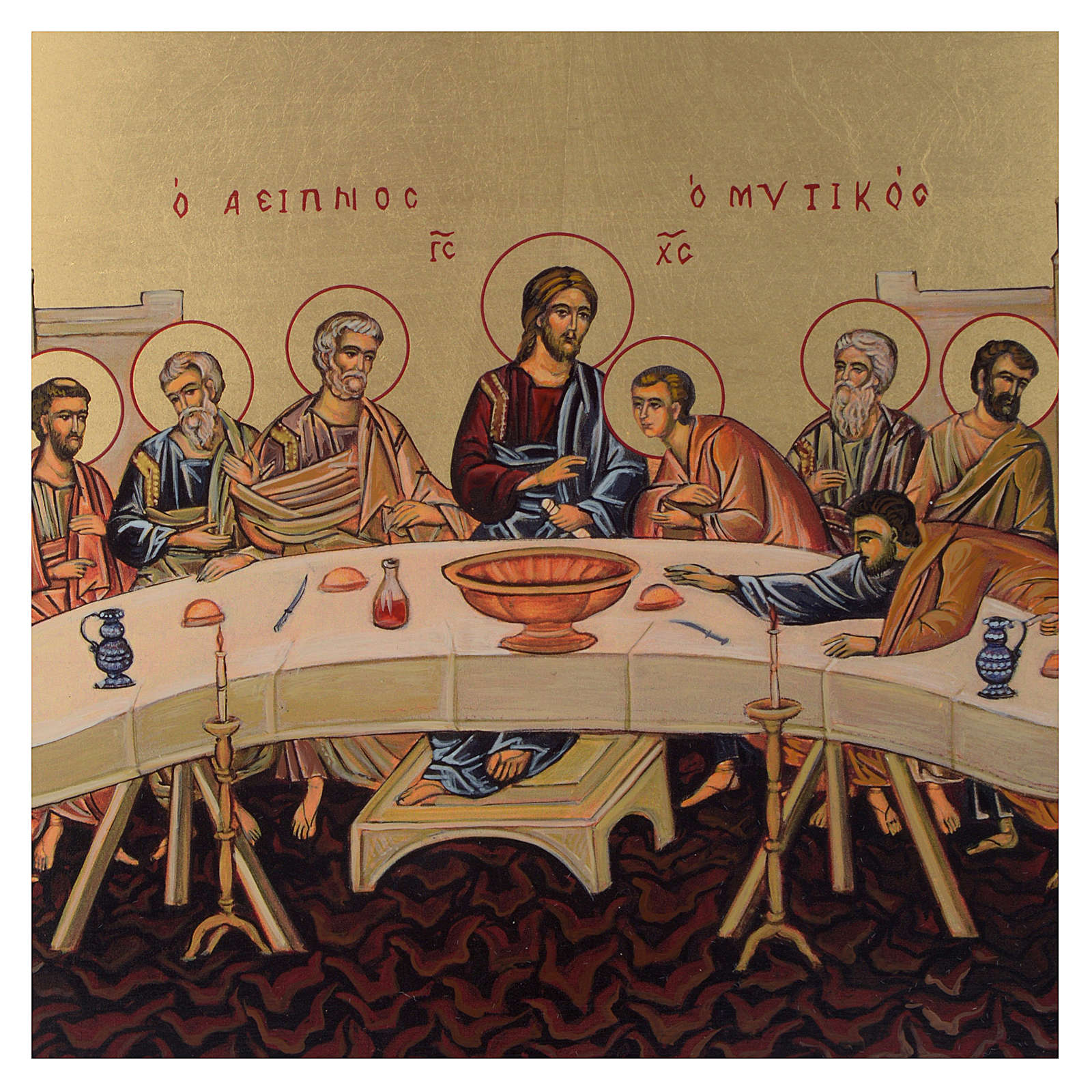 Icono bizantino Última Cena pintada a mano 30x25 cm 4