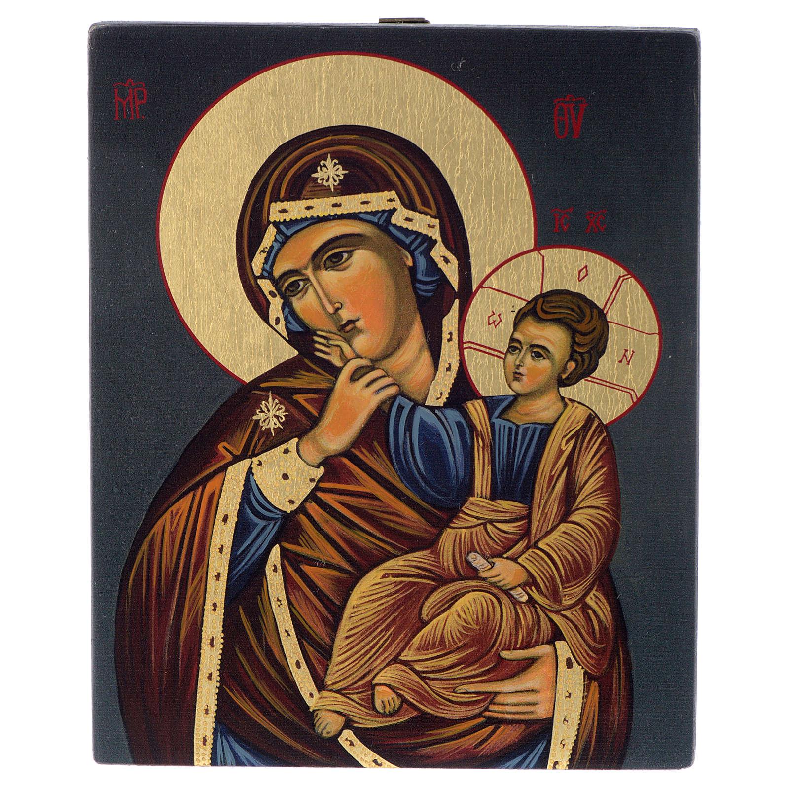 Icono bizantino Virgen con Niño pintada a mano 14x10 cm 4