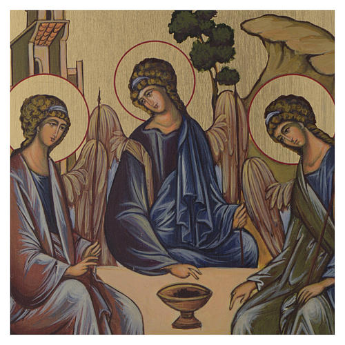 Icône byzantine Sainte Trinité peinte sur bois 24x18 cm 2