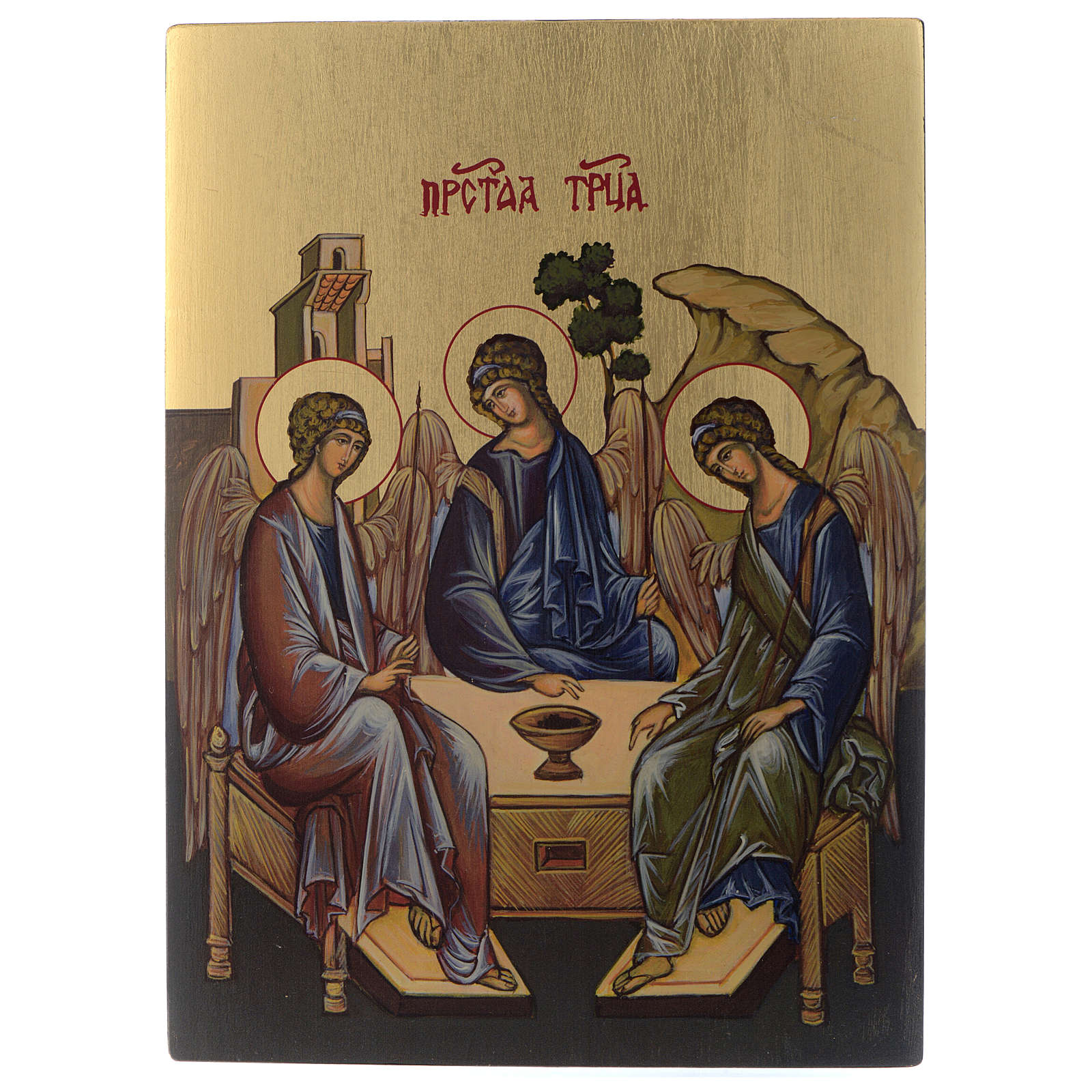 Icona Bizantina Santissima Trinità dipinta su legno 24x18 cm 4