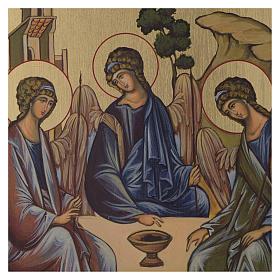 Icona Bizantina Santissima Trinità dipinta su legno 24x18 cm s2