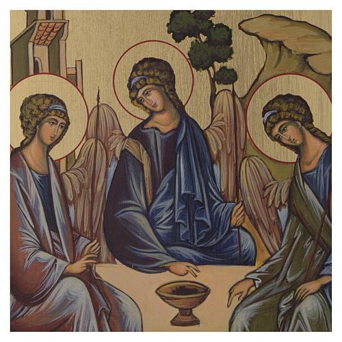 Icona Bizantina Santissima Trinità dipinta su legno 24x18 cm 2