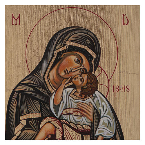 Icona bizantina Madonna con Bambino dipinta su legno 18x14 cm 2