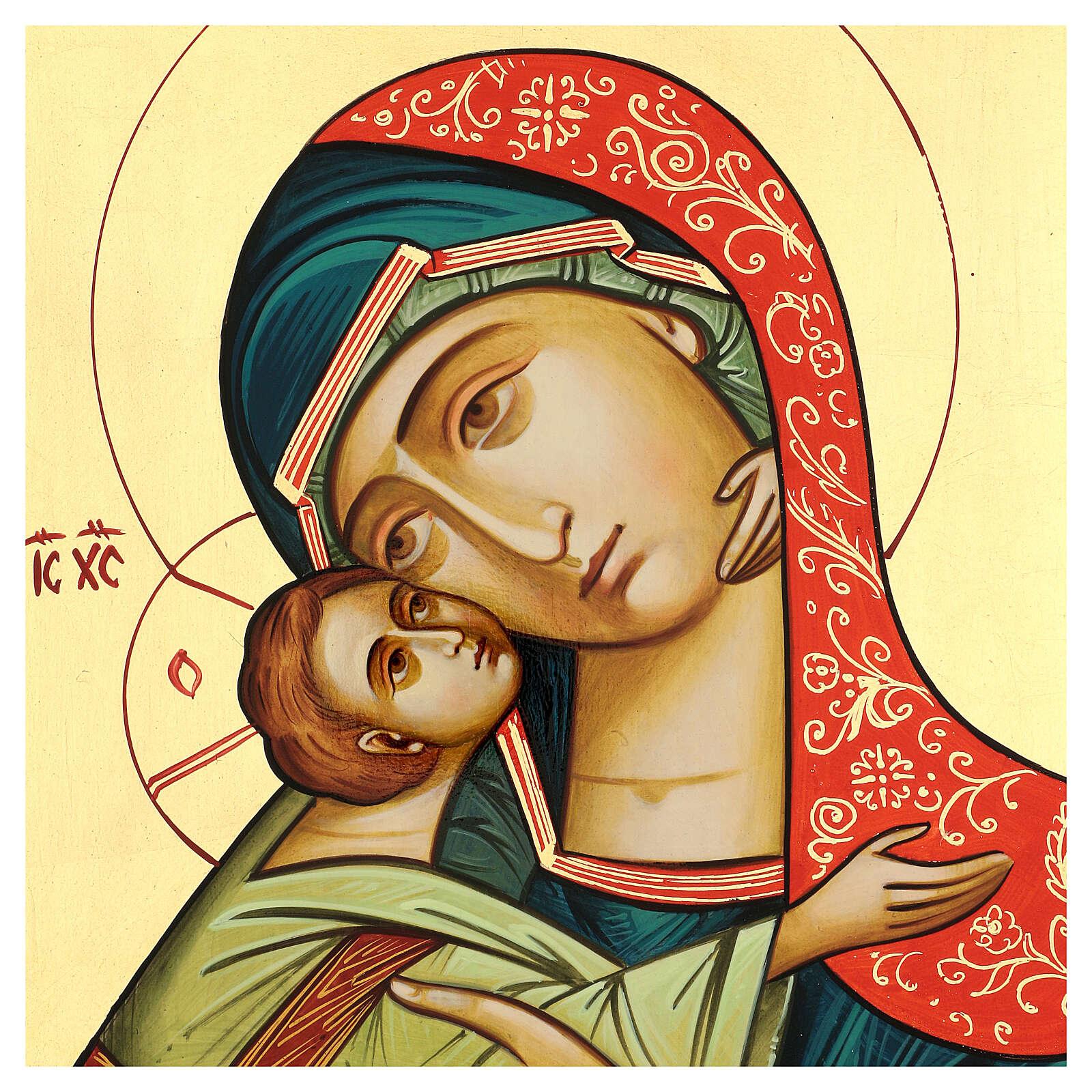Icono Rumanía Virgen Glykophilousa 44x32 cm con niño fondo oro 4