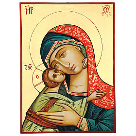 Icono Rumanía Virgen Glykophilousa 44x32 cm con niño fondo oro s1