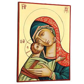 Icono Rumanía Virgen Glykophilousa 44x32 cm con niño fondo oro s3