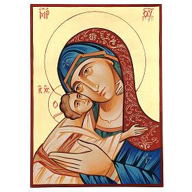Icono Rumanía Virgen Glykophilousa 44x32 cm con niño fondo oro s4