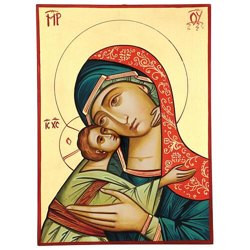 Icono Rumanía Virgen Glykophilousa 44x32 cm con niño fondo oro 1