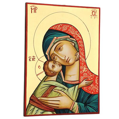 Icono Rumanía Virgen Glykophilousa 44x32 cm con niño fondo oro 3