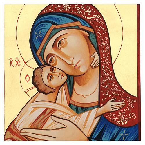 Icono Rumanía Virgen Glykophilousa 44x32 cm con niño fondo oro 5