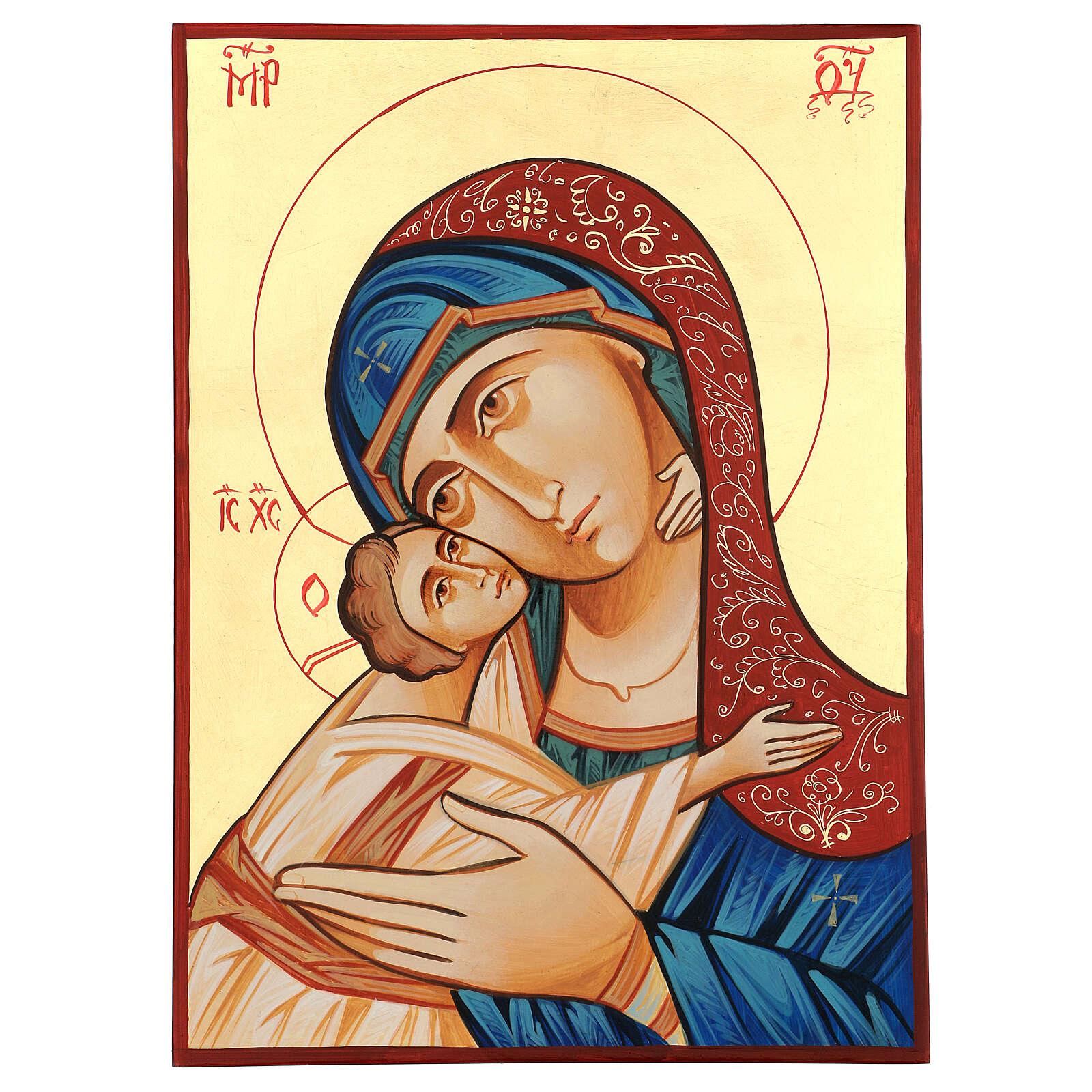 Icône Roumanie Vierge Glykophilousa 44x32 cm avec Enfant fond or 4