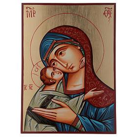 Icona Romania Madonna Glykophilousa 44x32 cm con bambino sfondo oro s1