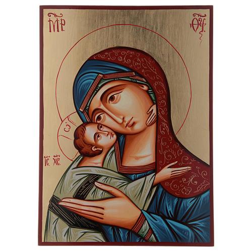 Icona Romania Madonna Glykophilousa 44x32 cm con bambino sfondo oro 1