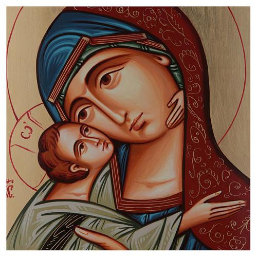 Icona Romania Madonna Glykophilousa 44x32 cm con bambino sfondo oro 2