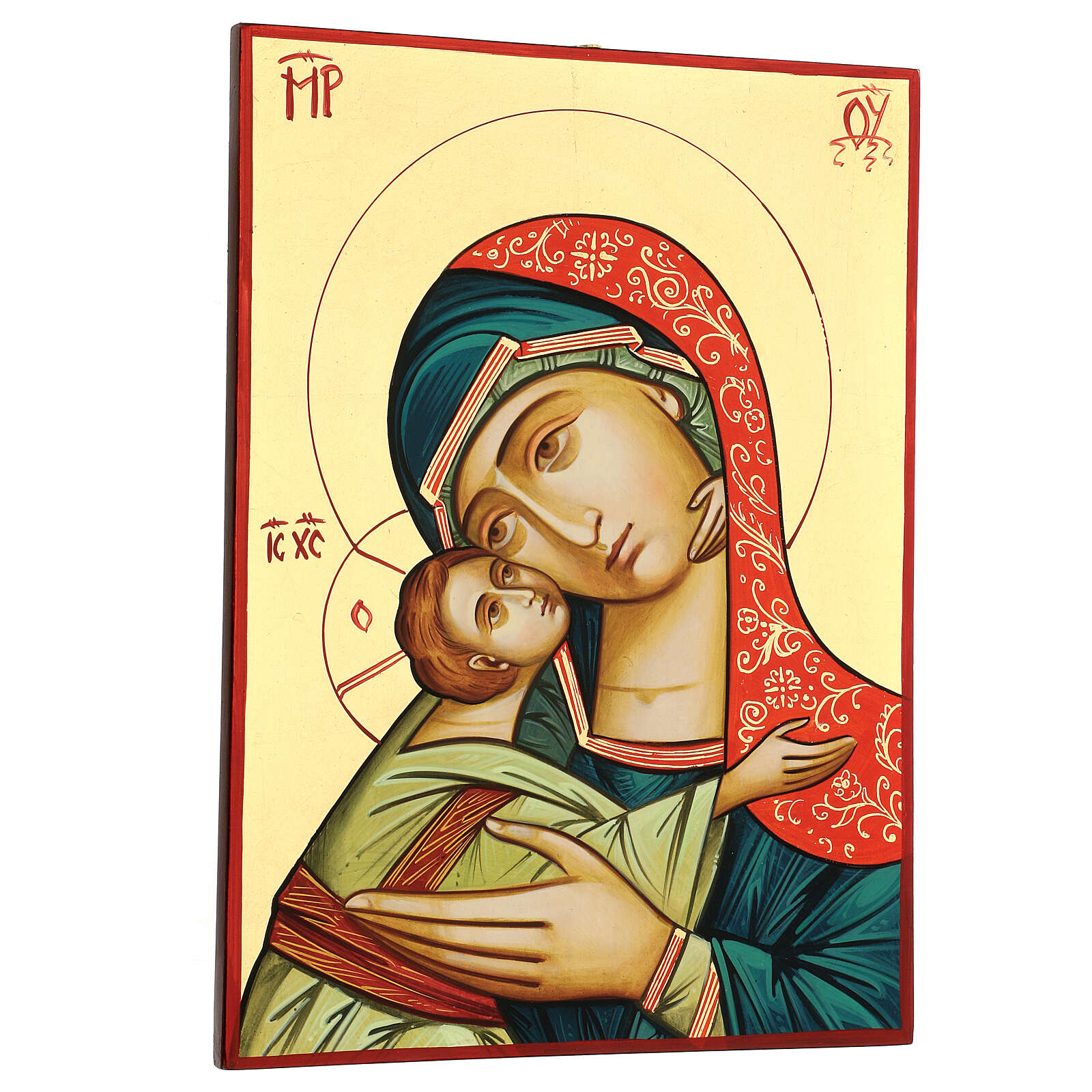 Romanian icon Virgin Glykophilousa 44x32 cm with Child gold background 4