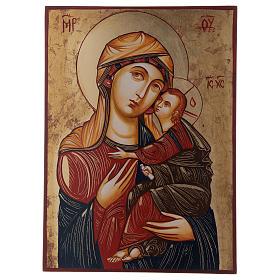 Madonna con bambino Madre dei Mantellini 44x32 oro foglio s1