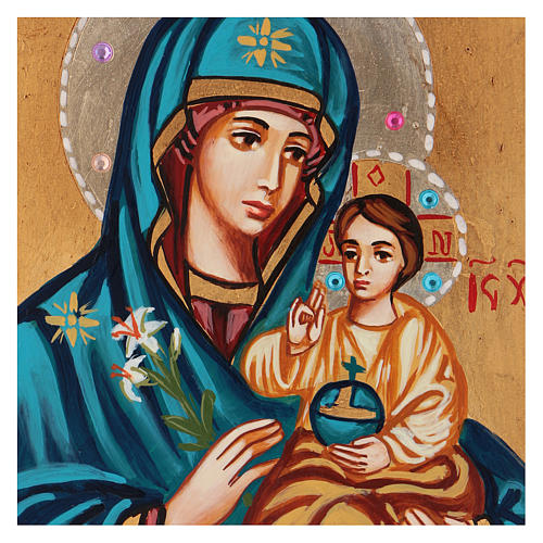 Icône Mère de Dieu Odigitria Roumanie 18x14 cm 2