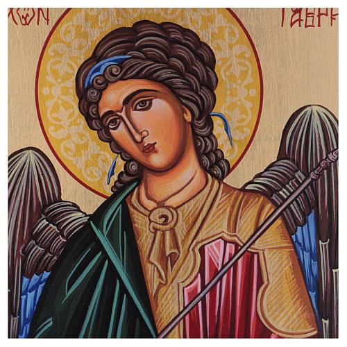 Icône Archange Gabriel peinte à la main 18x14 cm Roumanie 2