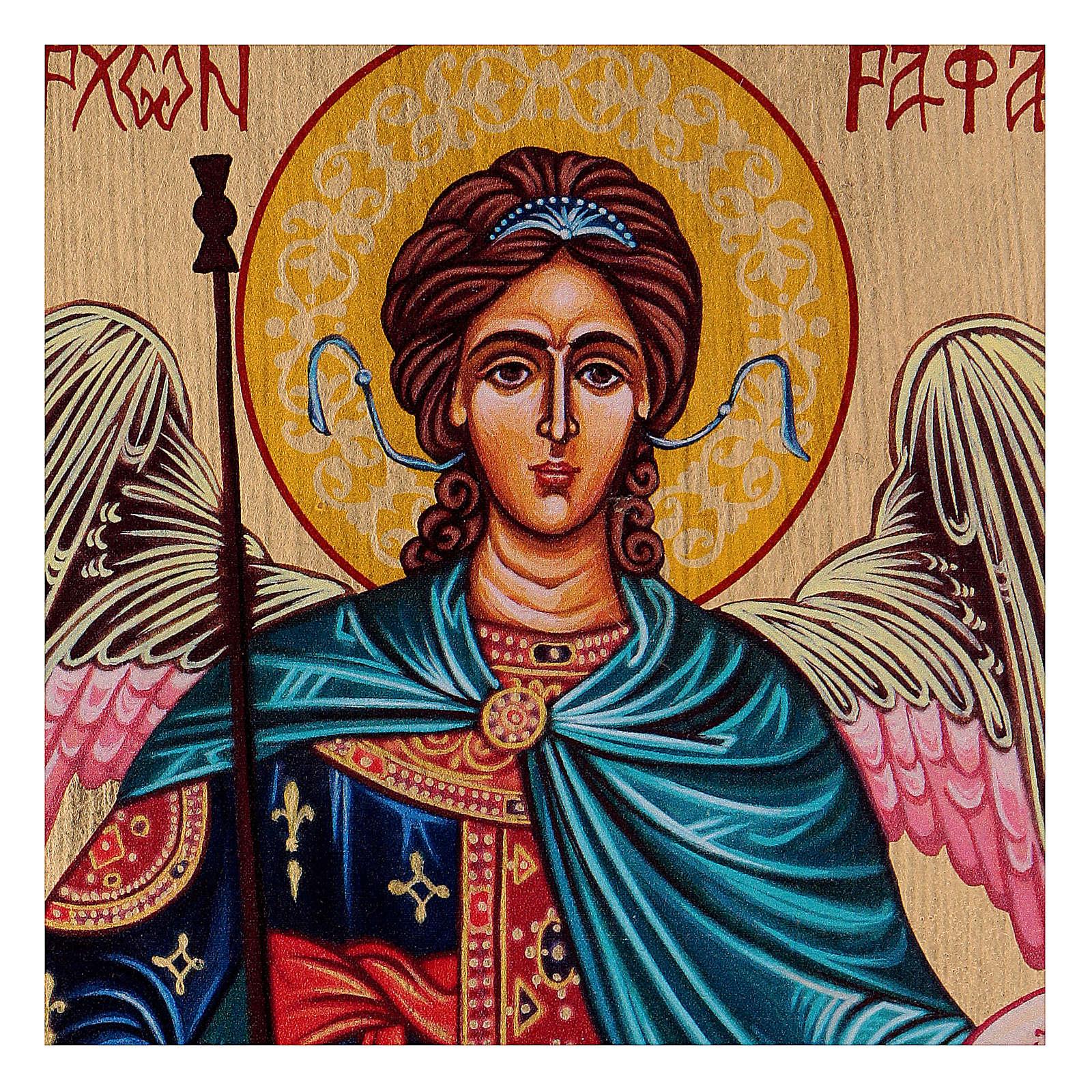 Icône Archange Raphaël peinte à la main 18x14 cm Roumanie 4