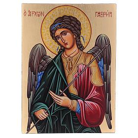 Ícone Arcanjo Gabriel pintado à mão 24x18 cm Roménia