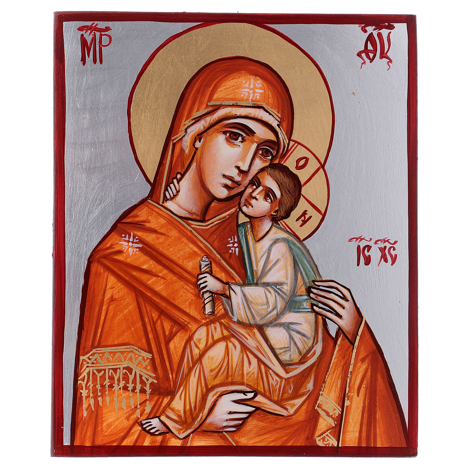 Icône Vierge à l'Enfant 24x18 cm cape orange Roumanie 4