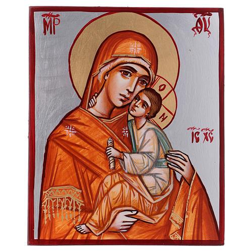 Icône Vierge à l'Enfant 24x18 cm cape orange Roumanie 1