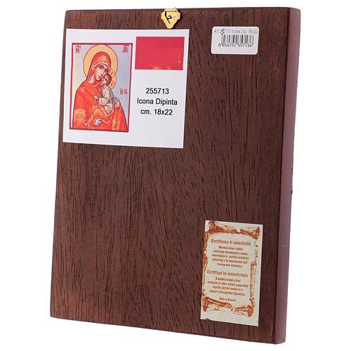 Icône Vierge à l'Enfant 24x18 cm cape orange Roumanie 3
