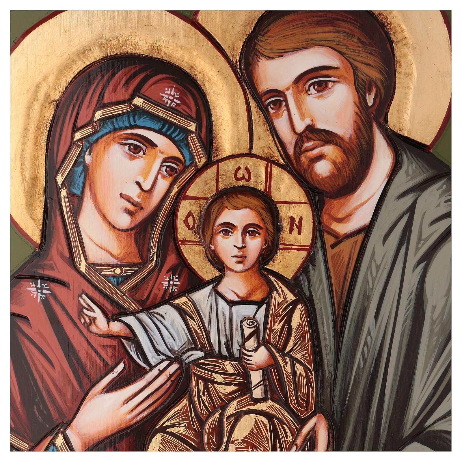 Icona Sacra Famiglia intagliata 70x50 cm Romania 4