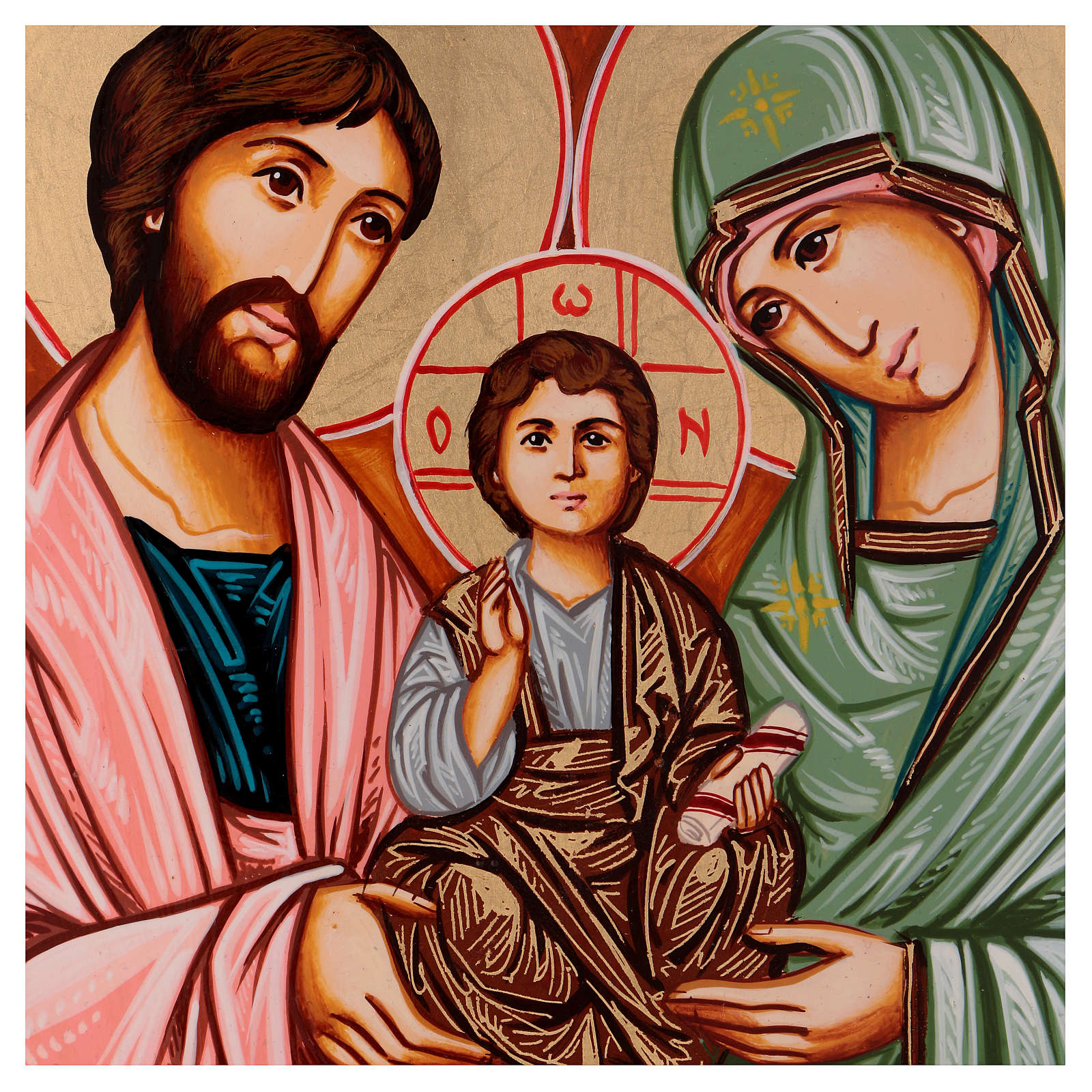 Icona Sacra Famiglia dipinta a mano Romania 30x20 cm 4