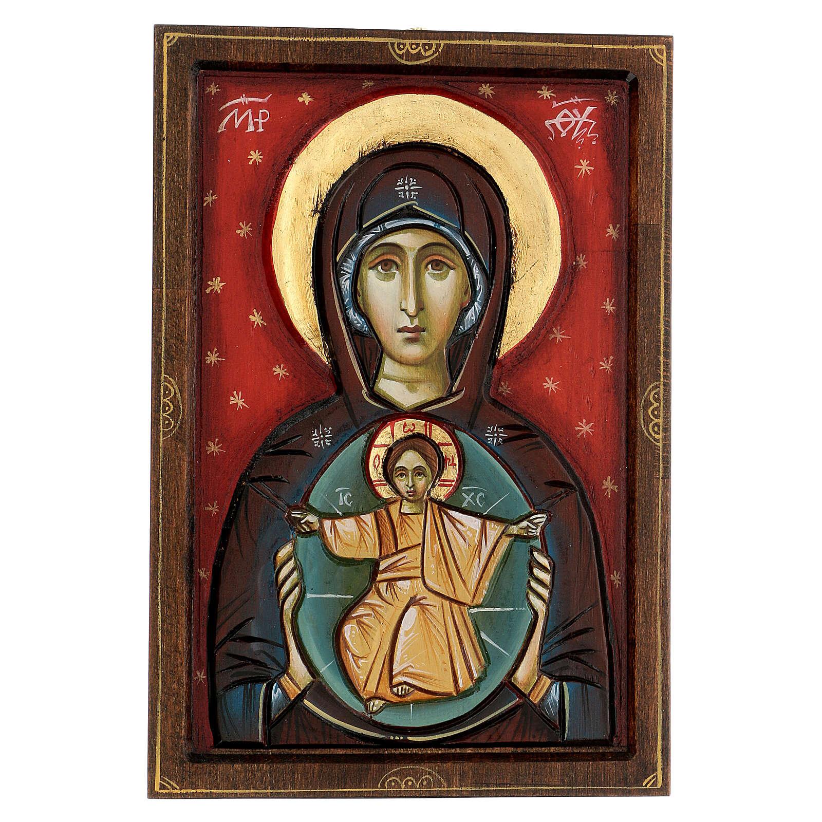 Icona Romania Madonna con bambino intagliata sfondo rosso 30x20 cm 4
