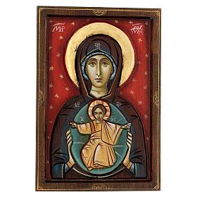 Icona Romania Madonna con bambino intagliata sfondo rosso 30x20 cm s1