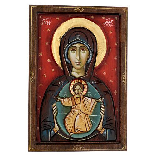 Icona Romania Madonna con bambino intagliata sfondo rosso 30x20 cm 1