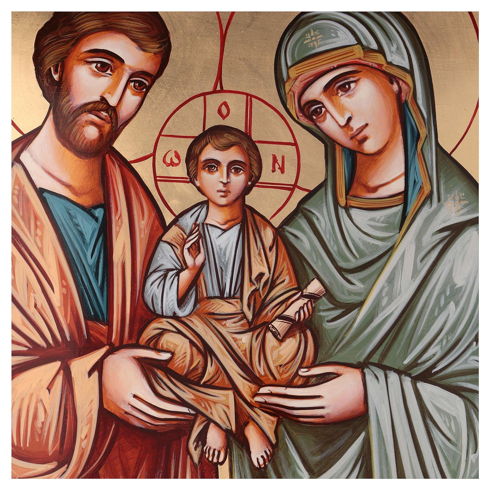 Icona dipinta a mano della Sacra Famiglia Romania 70x50 cm 4