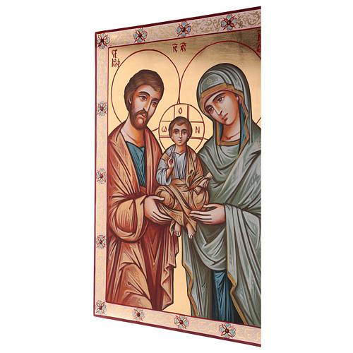 Icona dipinta a mano della Sacra Famiglia Romania 70x50 cm 3