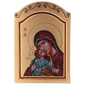 Icônes imprimées sur bois et pierre: Icône Vierge à l'Enfant sérigraphiée 30x20 cm