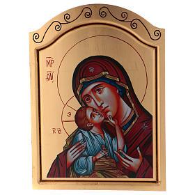 Icone stampa legno e pietra: Icona 45x30 cm Madonna con bambino serigrafia