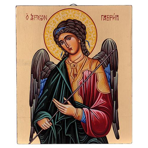 Icône Archange Gabriel peinte à la main fond or 18x14 cm Roumanie 1