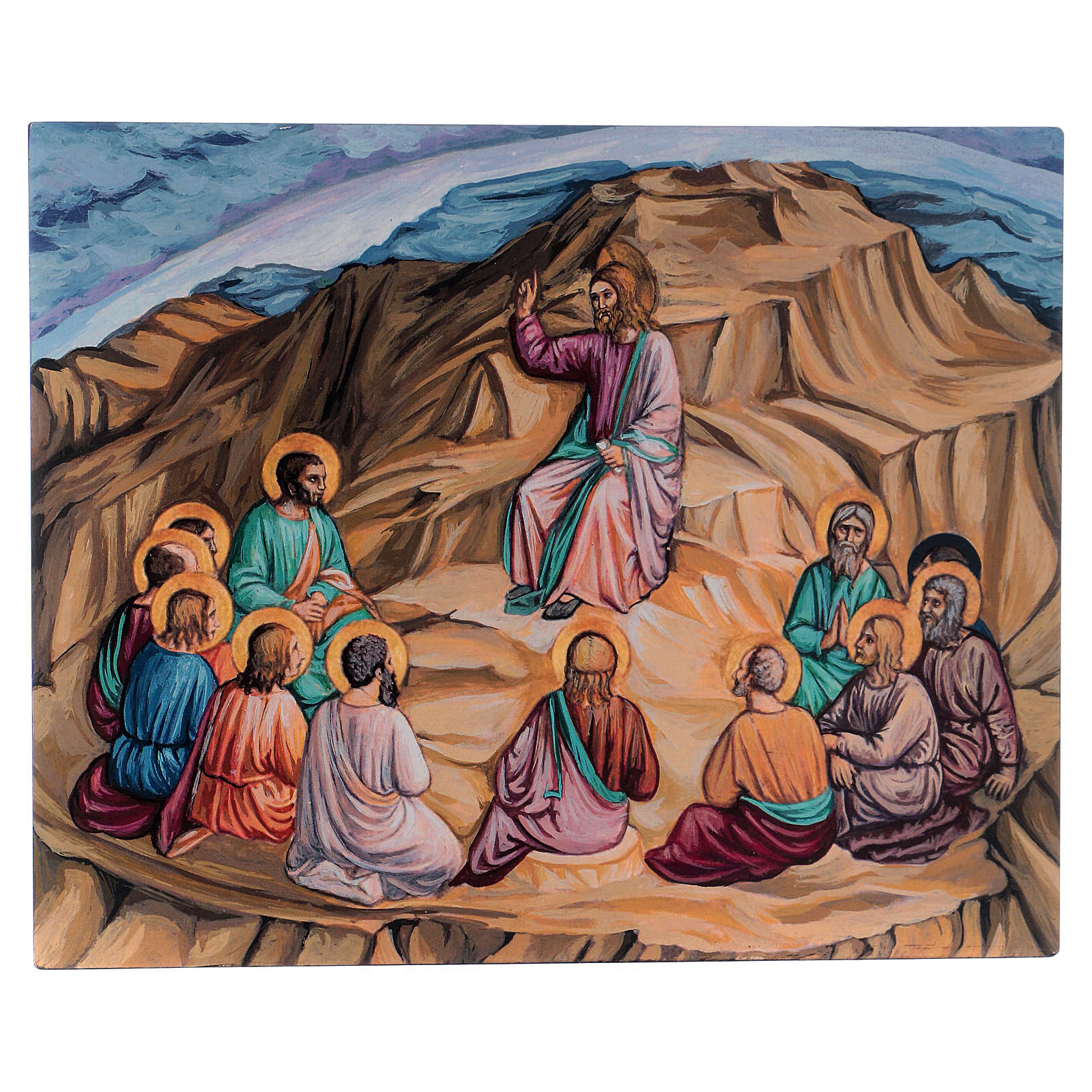 Icona Discorso della montagna dipinta a mano fondo oro 25x30 cm Romania 4