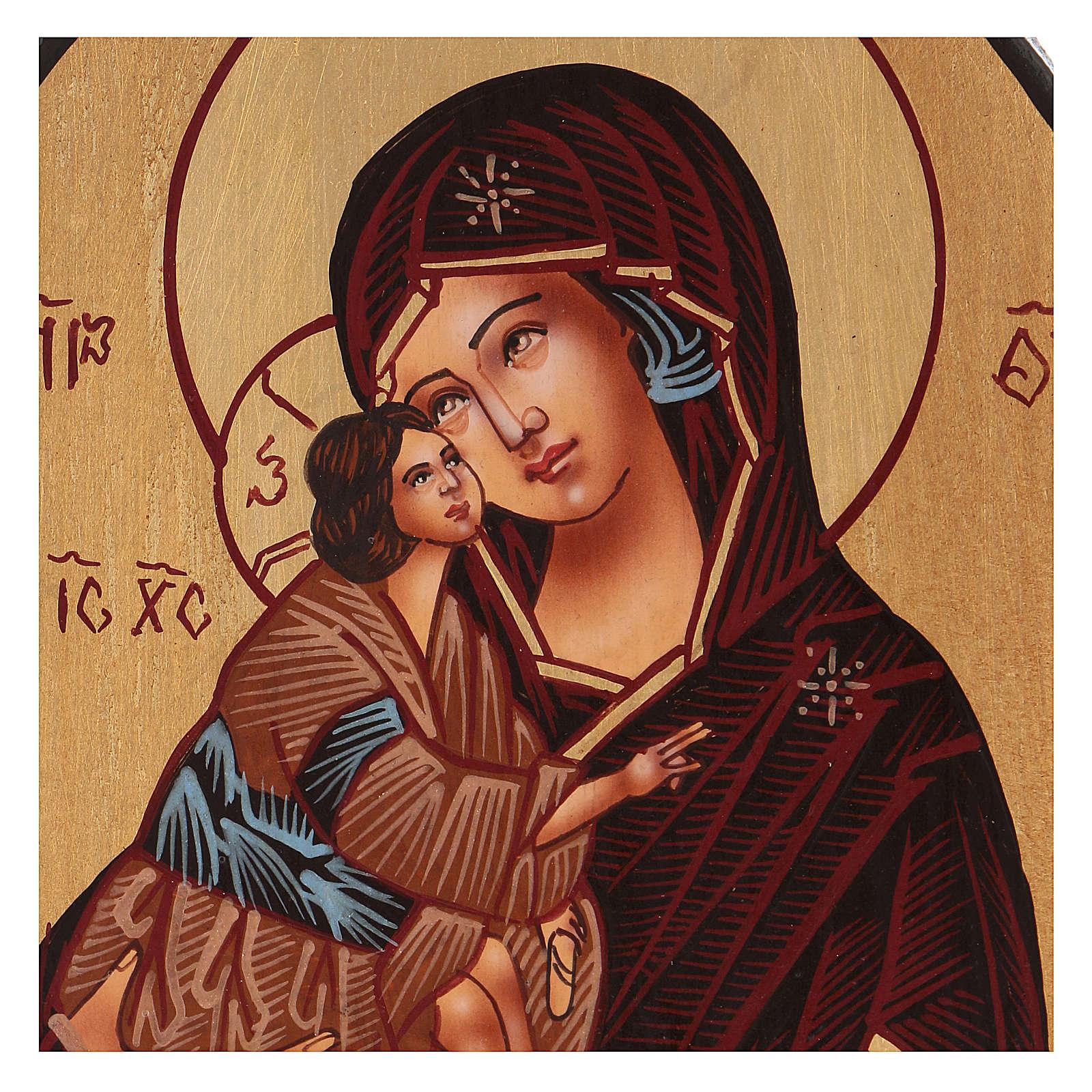 Tryptique Mère de Dieu 20x30 cm peint à la main Roumanie 4