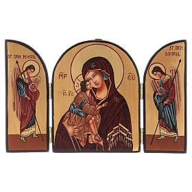 Tryptique Mère de Dieu 20x30 cm peint à la main Roumanie s1