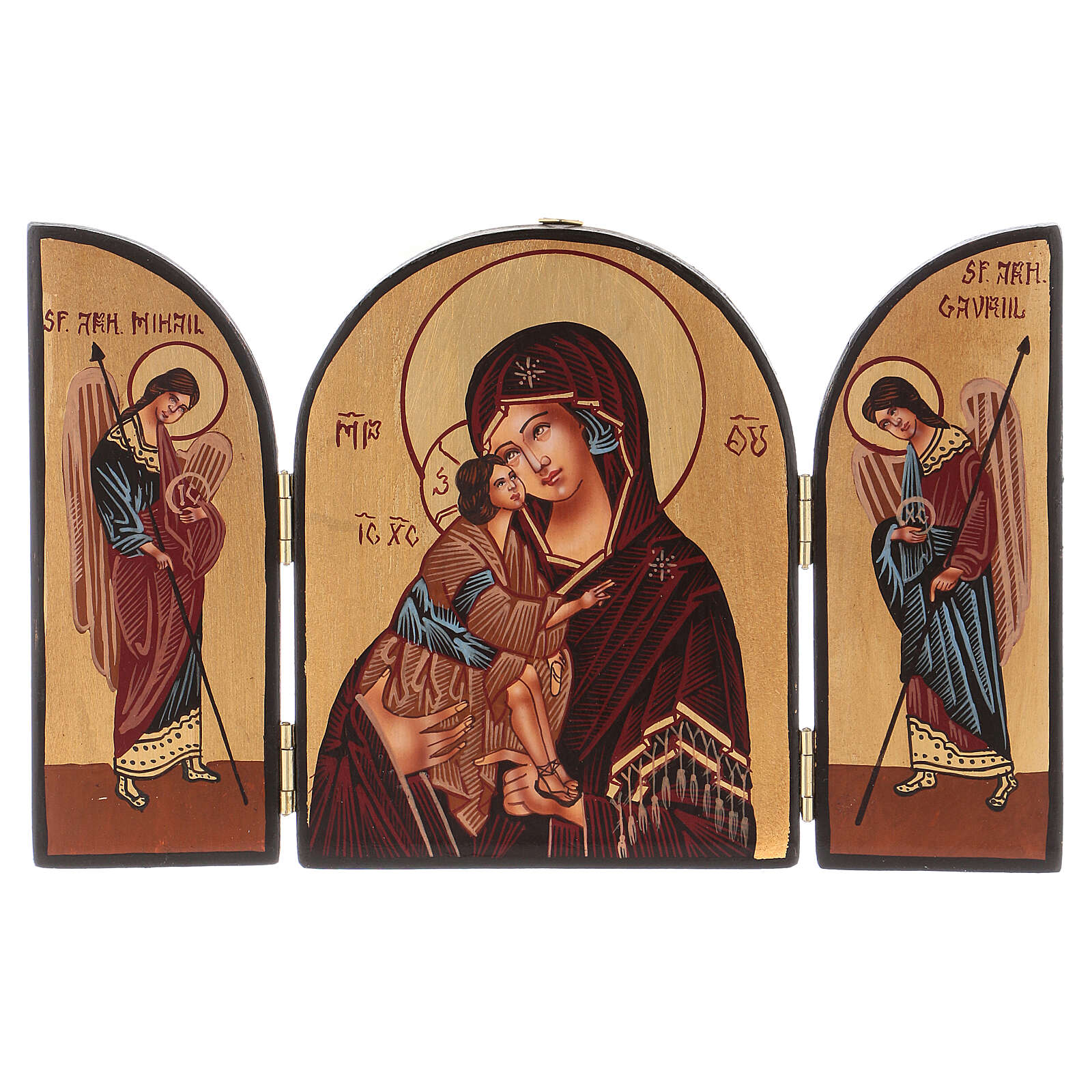 Triptych Mother of God 20x30 hand painted Romania 4