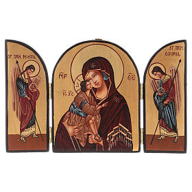 Triptych Mother of God 20x30 hand painted Romania s1