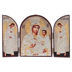 Tríptico Mãe de Deus prateada 20x30 cm pintado Roménia s1