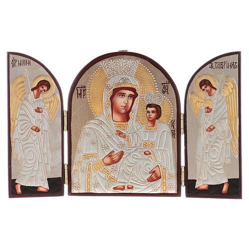 Tríptico Mãe de Deus prateada 20x30 cm pintado Roménia 1
