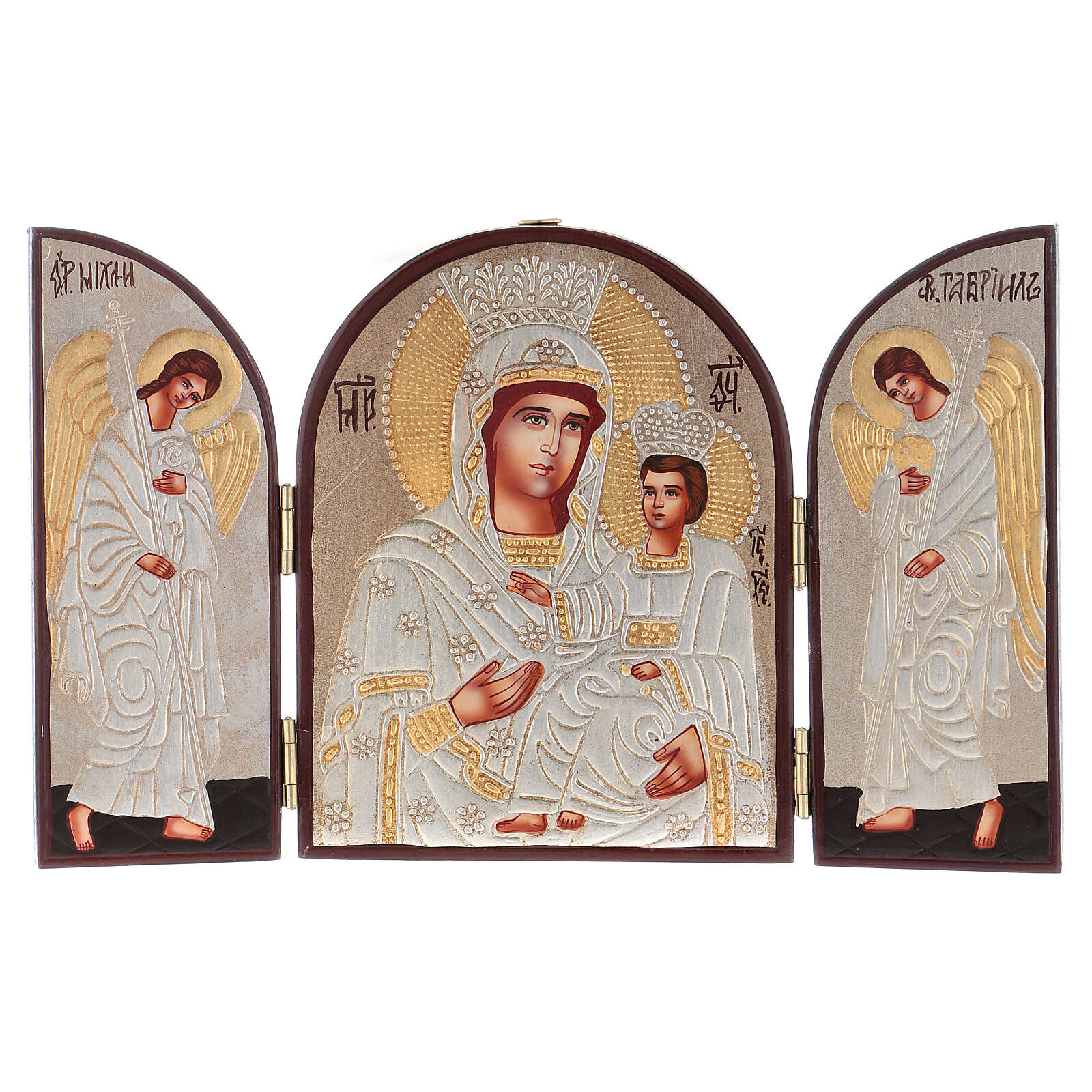 Triptych Mother of God silver 20x30 cm painted Romania 4