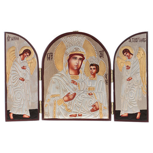 Triptych Mother of God silver 20x30 cm painted Romania 1