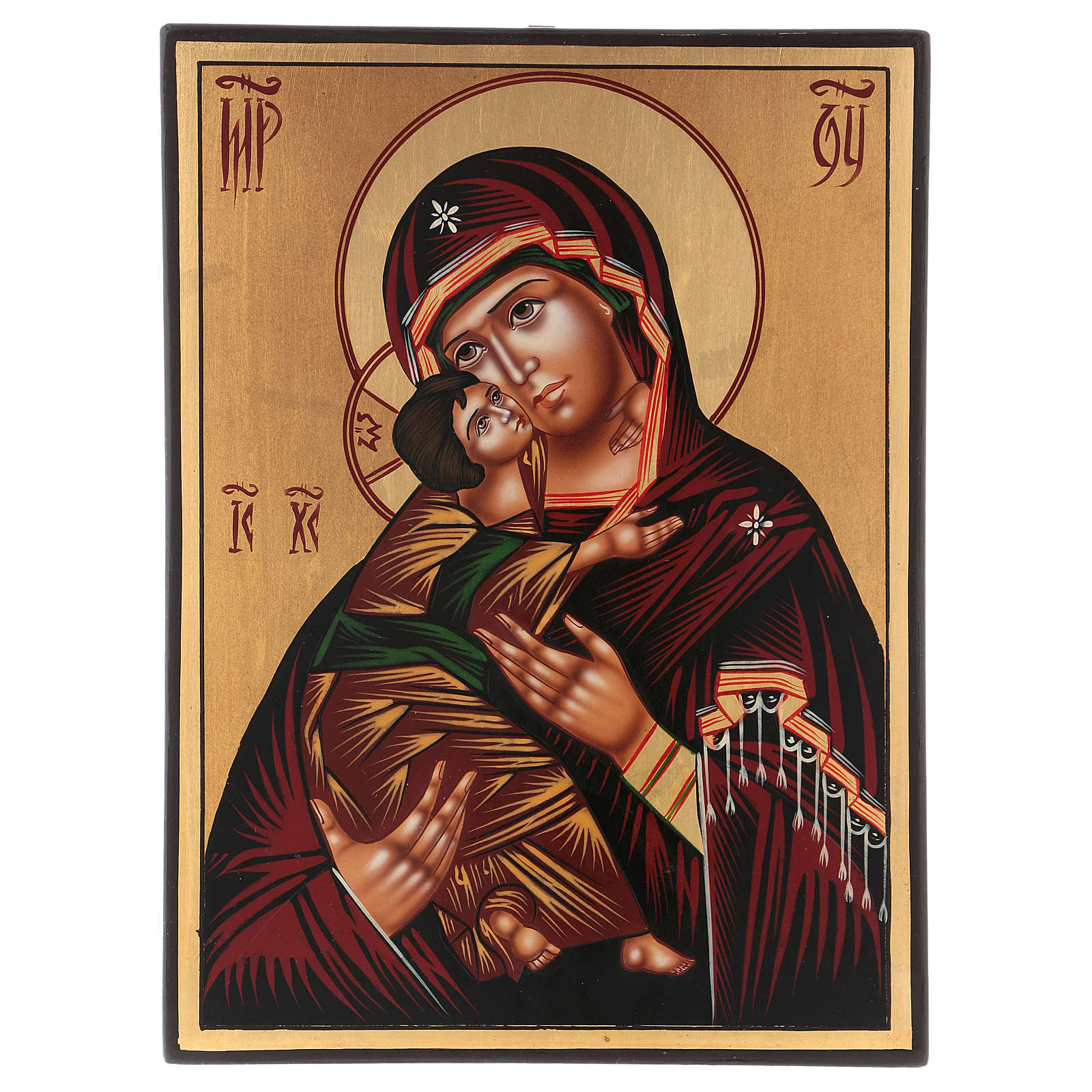 Icona Madre di Dio Vladimirskaja 30x25 cm dipinta Romania 4