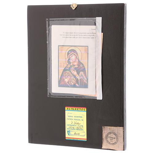 Icona Madre di Dio Vladimirskaja 30x25 cm dipinta Romania 3
