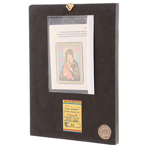 Romanian icon of Our Lady of Vladimirskaja with white background 30x25 cm 3